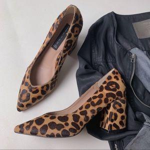 STEVE MADDEN Pamina Calf Hair Leopard Block Heels